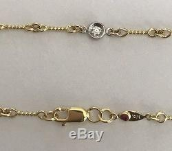 Authentic 18k yellowithw gold & diamond 16 Dog-Bone Station Necklace-Roberto Coin