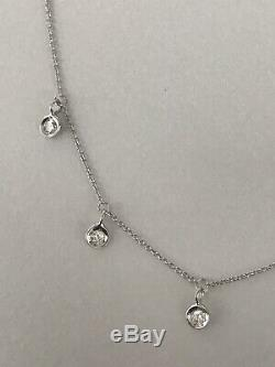 Authentic 18kt WHITE Gold Dangling Diamond 0.23 Station Necklace-Roberto Coin