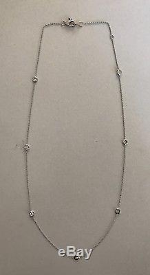 Authentic 18kt WHITE Gold Diamond 0.35 ct Station Necklace by Roberto Coin