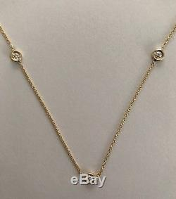 Authentic 3 Station Diamond 18k Yellow Gold Necklace by Roberto Coin