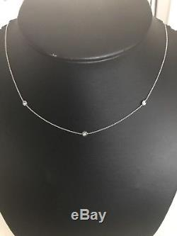 Authentic 3 Station Diamond 18kt WHITE Gold Necklace by Roberto Coin