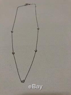 Authentic 5 Station Diamond 18kt WHITE Gold Necklace Roberto Coin with Appraisal