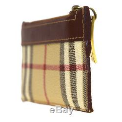 Authentic BURBERRY Logo Nova Check Coin Key Case PVC Leather Gold Italy 07BJ596