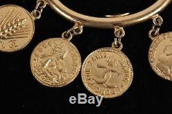 Authentic CHANEL Vintage Gold Metal BANGLE BRACELET COIN CHARMS with BOX
