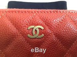 Authentic Chanel Orange Pearly caviar coin purse wallet gold hardware