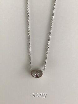 Authentic Diamond Oval Solitaire 0.20ct 18kt WHITE Gold Necklace by Roberto Coin