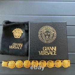 Authentic Gianni Versace Coin Bracelet Medusa Gold ITALY w / storage bag & Box