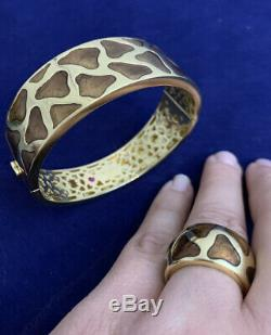 Authentic Gold Roberto Coin Giraffe Wide Enamel Tapered Ring 18 K Size 6.5