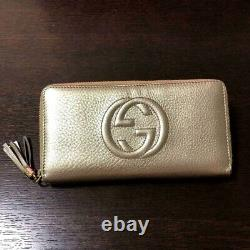 Authentic Gucci Soho Zip-around Zippy Gg Long Wallet Gold Coin Purse Leather