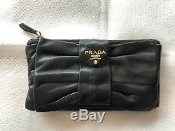 Authentic PRADA Black Leather Clutch and Coin Purse With Gold Logo Hardware