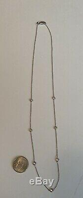 Authentic ROBERTO COIN 18K White Gold, 7 Station Diamond by Inch Necklace, BIN