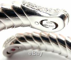 Authentic! ROBERTO COIN 18k White Gold Enamel Ruby Diamond Cobra Bangle Bracelet