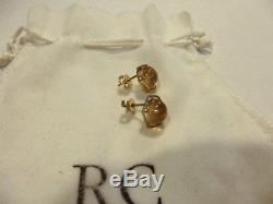 Authentic ROBERTO COIN Shanghai Citrine MOP 18K Gold Round Stud Earrings w pouch