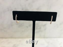 Authentic Roberto Coin 18K Yellow Gold Diamond Hoop Earrings Made In Italy