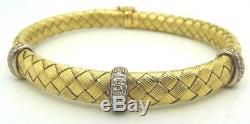 Authentic Roberto Coin 18K Yellow Gold Diamond Woven Silk Bangle Bracelet