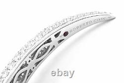 Authentic! Roberto Coin 18k White Gold Diamond Cobra Bangle Bracelet