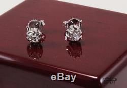 Authentic Roberto Coin 18k White Gold Diamond Stud Earrings, 0.5ctw Total