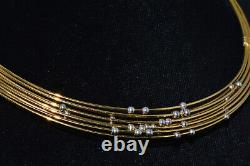 Authentic Roberto Coin 750 18K Solid Gold Station Beaded Collar Omega Necklace