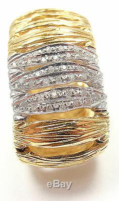 Authentic! Roberto Coin Elephant Skin Domed 18k Yellow Gold Diamond Band Ring