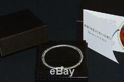 Authentic Roberto Coin Primavera Diamond 18K White Gold Bangle Bracelet With Box
