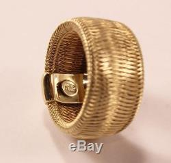 Authentic Roberto Coin Weave Woven 18k Yellow Gold Wide Band Ring Us-7/t54/uk-o