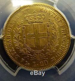 BJSTAMPS 1852 Sardinia 20L GOLD Italy. 1866 oz AGW. 900 gold PCGS AU 53