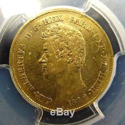 BJStamps 1842 P Sardinia 20L GOLD Italy. 900 gold. 186 toz PCGS AU 53 scarce