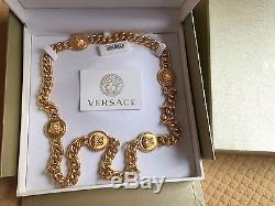 BNWT 100% Authentic Versace Signature Medusa coin long necklace 26 Retail $1400