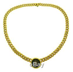 BVLGARI Monete Ancient Coin Pendant Chain NECKLACE Gold Signed 1970s Bulgari