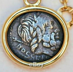 Beautiful Classic Bvlgari 18kt Yellow Gold Monete Pendant Necklace Ancient Coin