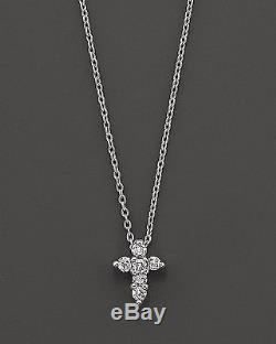 Beautiful Roberto Coin Tiny Treasures 18kt white gold diamond cross necklace