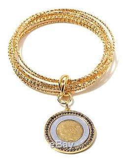 Bellezza Lira Coin 1.77ctw Black Spinel Bronze Interlocking Bangle Bracelet