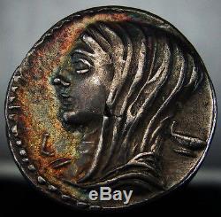 Brilliant roman coin with Gold iridescent patina. Voting. Cassius Longinus. WorthK