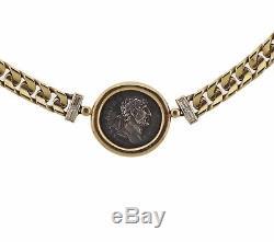 Bulgari Ancient Coin Hadrianus Caesar Denarius Gold Diamond Necklace