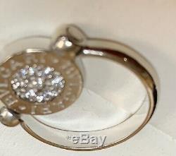 Bulgari Bvlgari 18K White Gold Inlaid Black Onyx & Diamond Coin Flip Ring Sz 5