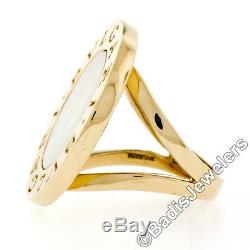 Bulgari Bvlgari 18K Yellow Gold Inlaid Mother of Pearl 25mm Large Coin Ring Sz 6