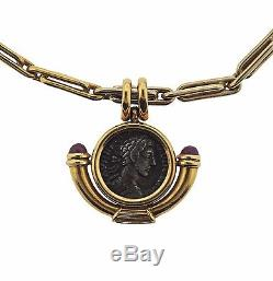 Bvlgari Bulgari Monete 18k Gold Ruby Ancient Coin Pendant Necklace