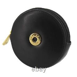 CELINE Logos Coin Purse Black Gold Leather Italy Vintage Authentic #UU128 O