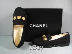 CHANEL 35.5 Black Tweed Round Toe Mocassins Loafers Low Heels 3 Gold Coins NEW