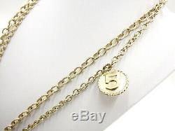CHANEL CC Coin Medal Motif Long Necklace GP Gold B14P 100th Anniversary V-1985