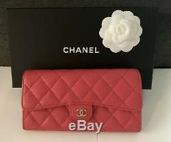 CHANEL Long Wallet with Zippered Coin Pocket Dark Pink Caviar Leather Gold Metal