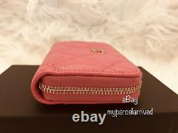CHANEL Pink Caviar Zippy Coin Purse Card Case Gold-tone Hardware NEW Authentic