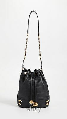 CHANEL VTG Black Caviar Leather CC Drawstring Coin Pouch Shoulder Bucket Bag