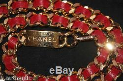 CHANEL Vintage Gold Chain Red Leather Belt CC Logo 31 Rue Cambon Paris Coin NICE