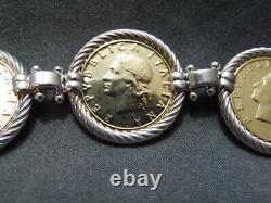 CJ 925 ItalySterling Silver18K Gold Gilded20 Lire Coin Bracelet+Earrings Set