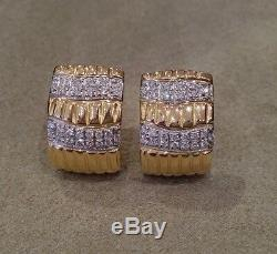 CLOSEOUT ROBERTO COIN 18k Yellow Gold Diamond Half Hoop Earrings HM1348SB