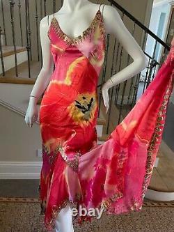 Cavalli Vintage Silk Poppy Print Gypsy Dress w Gold Coin Embellishments