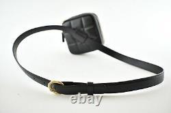 Chanel 20K Black Diamond Lambskin Quilted Gold CC Waist Fanny Pack Bum Belt Bag