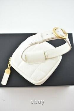 Chanel 20K White Diamond Caviar Quilted Gold CC Logo Arm Band Ankle Bracelet Bag