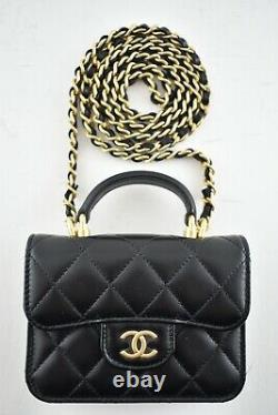 Chanel 21A Black Flap Coin Purse With Chain Gold Handle Shoulder Crossbody Bag